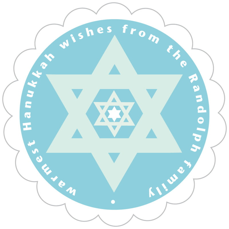 scallop food/craft labels - sky - star of david (set of 20)