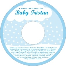 Snowswirls baby shower CD/DVD labels