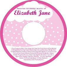 Snowswirls kid/teen birthday CD/DVD labels