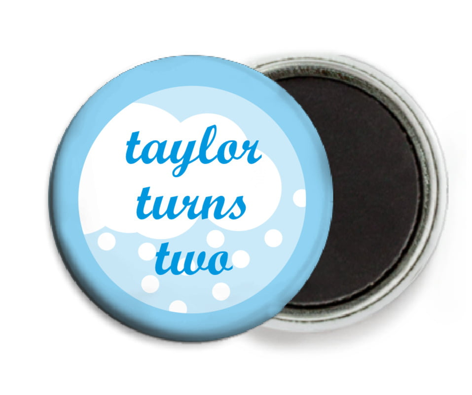 custom button magnets - bright blue - snowswirls (set of 6)