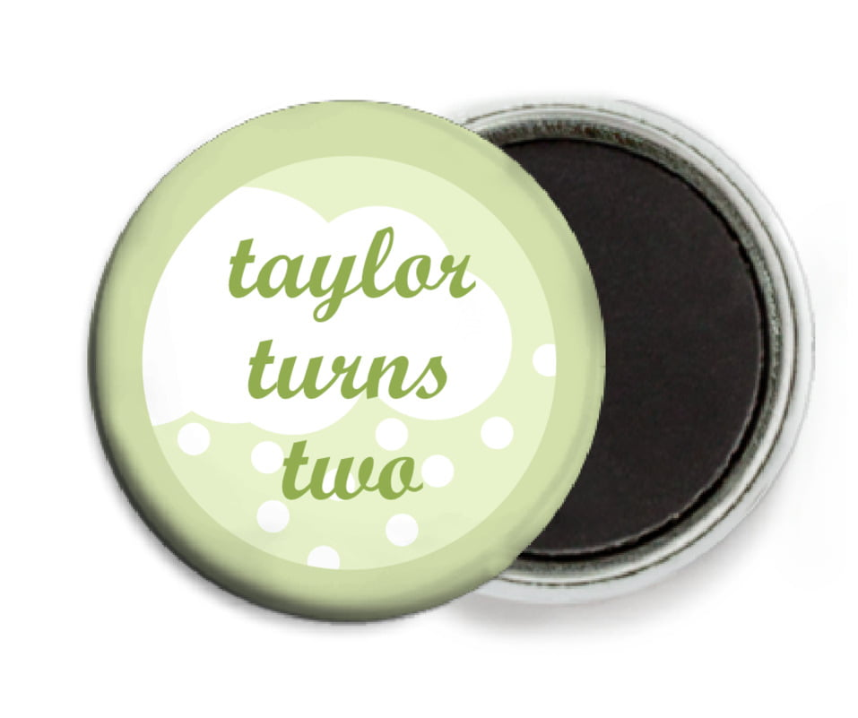 custom button magnets - green tea - snowswirls (set of 6)