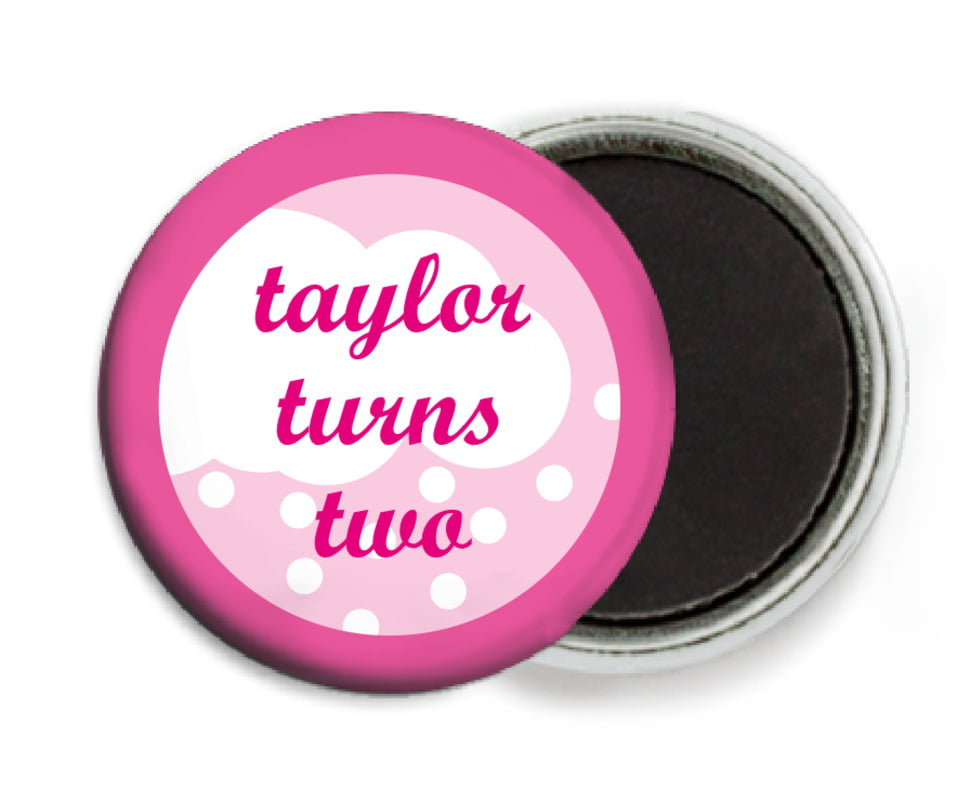 custom button magnets - bright pink - snowswirls (set of 6)