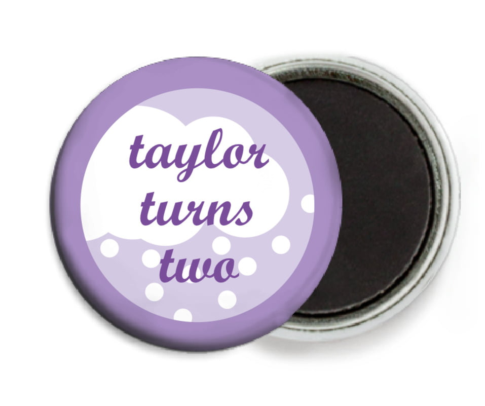 custom button magnets - lilac - snowswirls (set of 6)