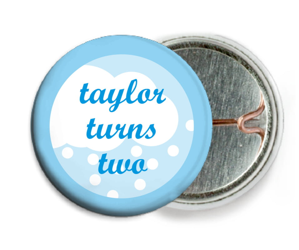 custom pin back buttons - bright blue - snowswirls (set of 6)