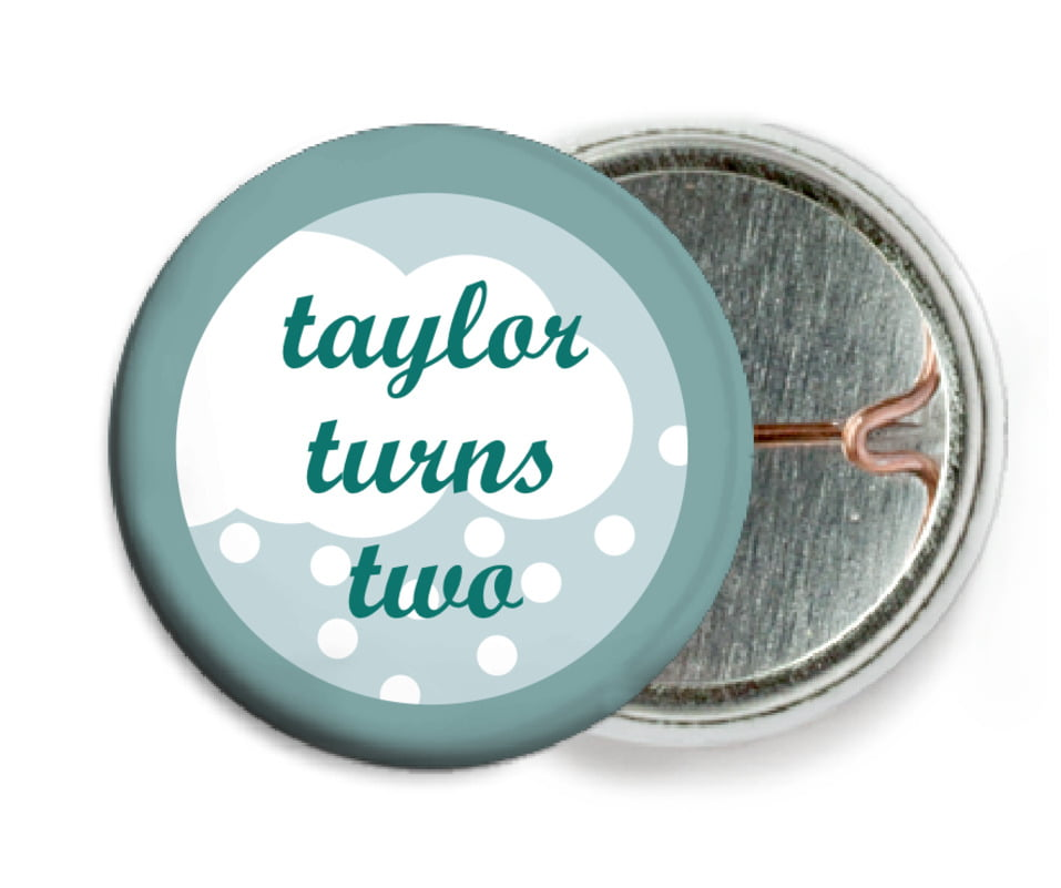 custom pin back buttons - sage - snowswirls (set of 6)