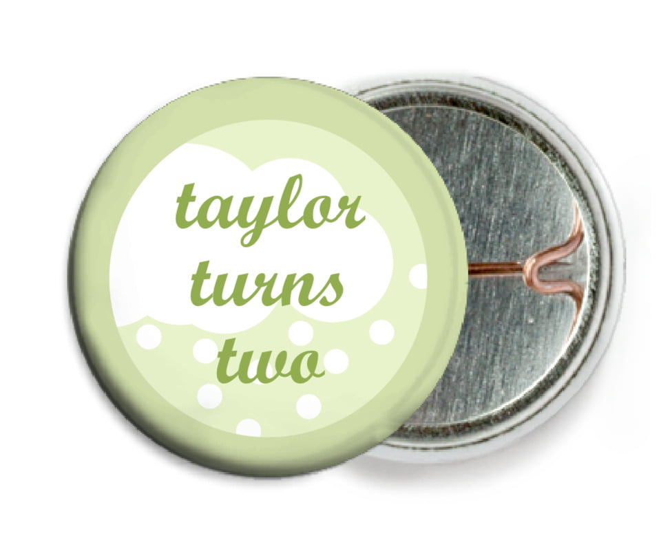 custom pin back buttons - green tea - snowswirls (set of 6)