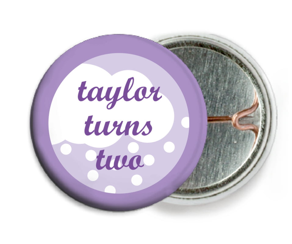 custom pin back buttons - lilac - snowswirls (set of 6)