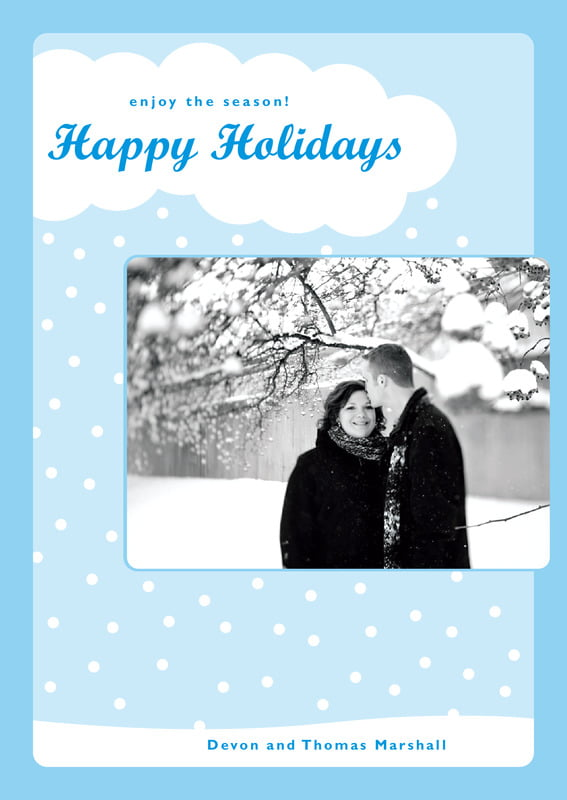 holiday cards - bright blue - snowswirls (set of 10)