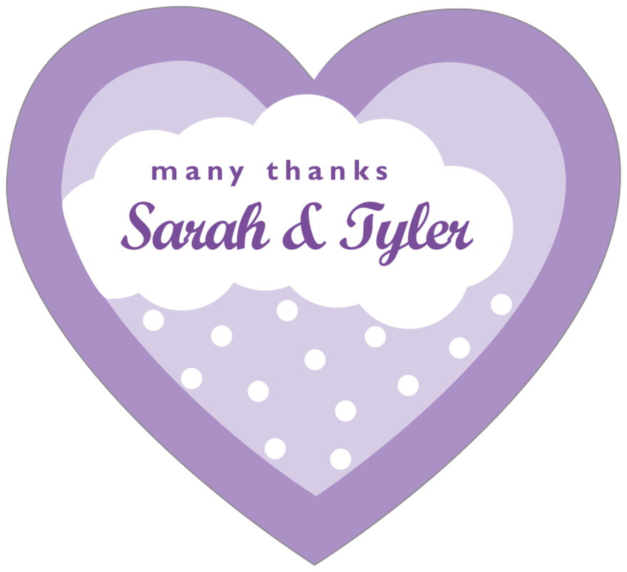 small heart food/craft labels - lilac - snowswirls (set of 20)
