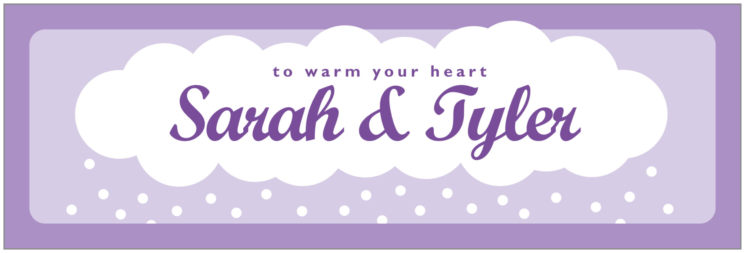 wide food/craft labels - lilac - snowswirls (set of 14)