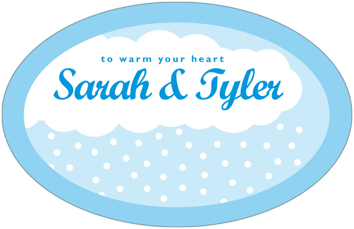 large wide oval food/craft labels - bright blue - snowswirls (set of 8)