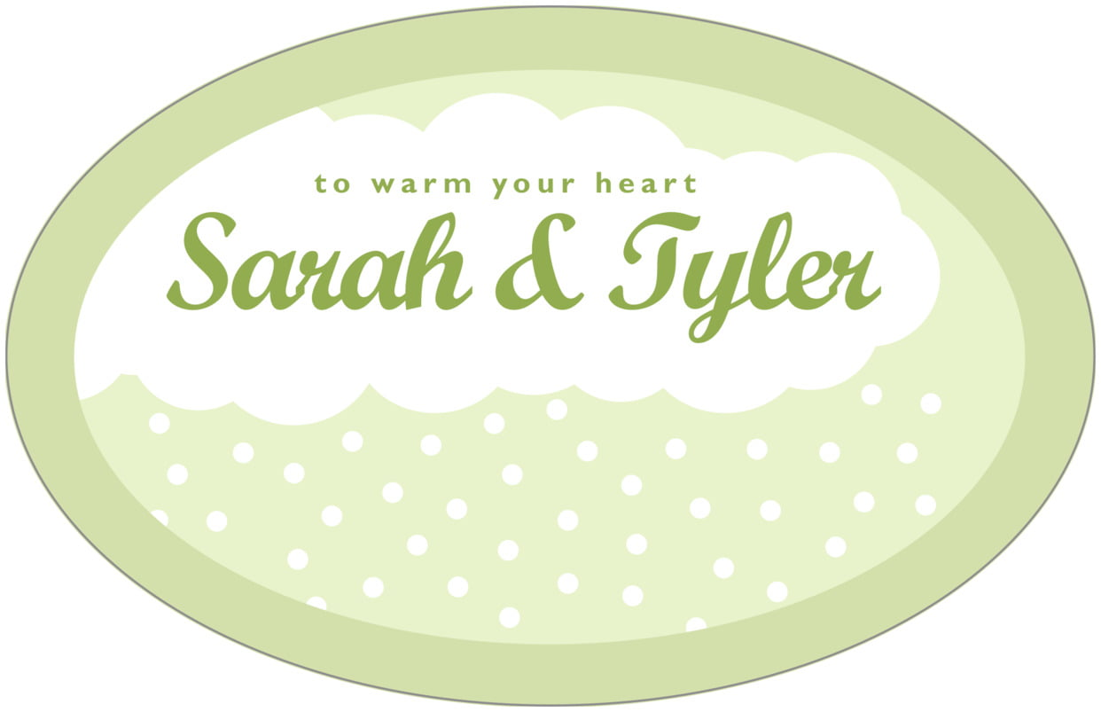 large wide oval food/craft labels - green tea - snowswirls (set of 8)