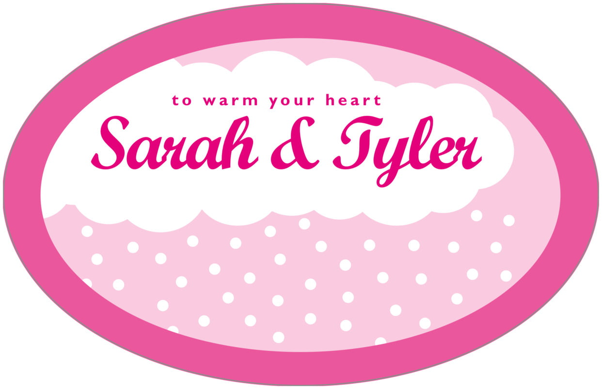 large wide oval food/craft labels - bright pink - snowswirls (set of 8)