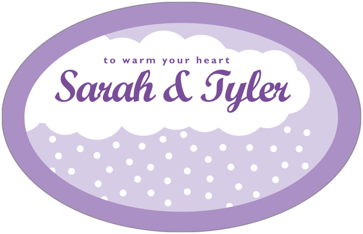 large wide oval food/craft labels - lilac - snowswirls (set of 8)