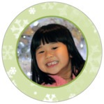 Snowflake Circle Photo Label In Green Tea