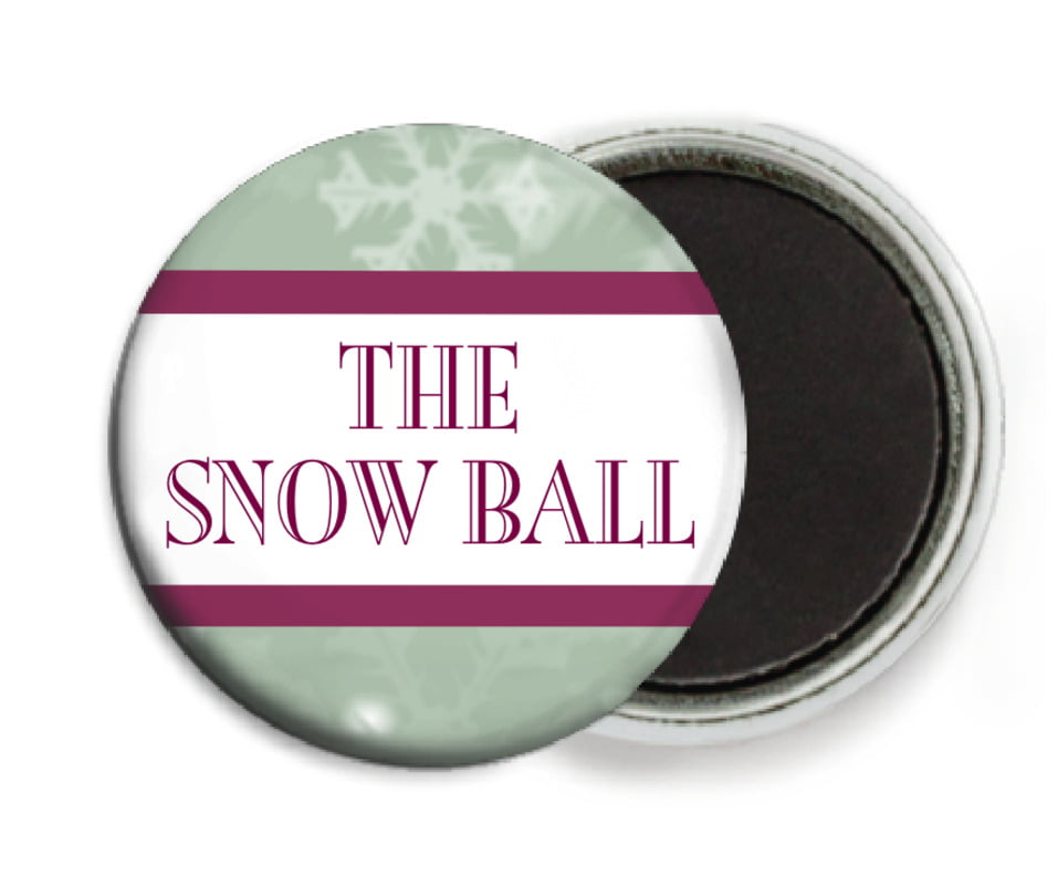 custom button magnets - green - snowflake (set of 6)