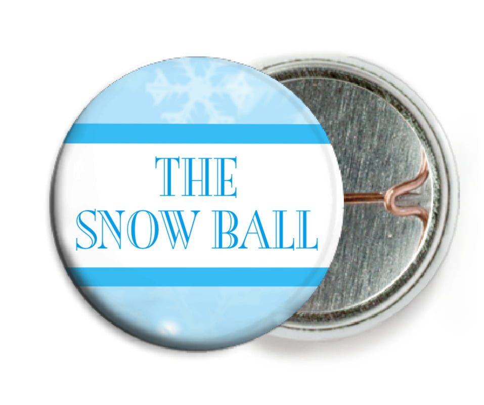 custom pin back buttons - ice blue - snowflake (set of 6)
