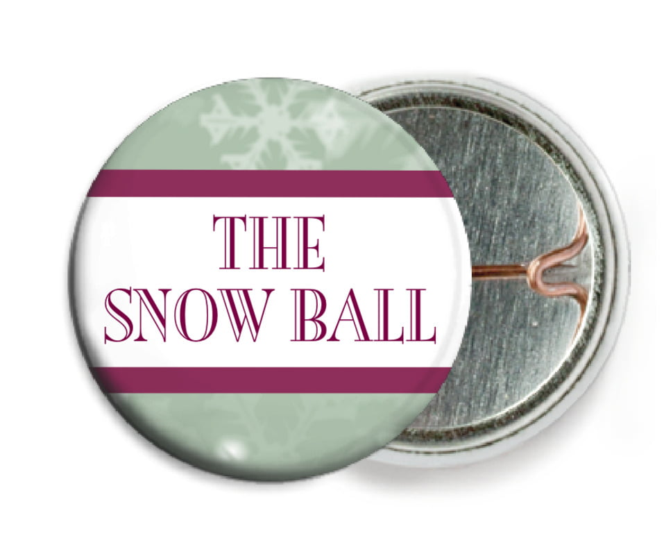 custom pin back buttons - green - snowflake (set of 6)