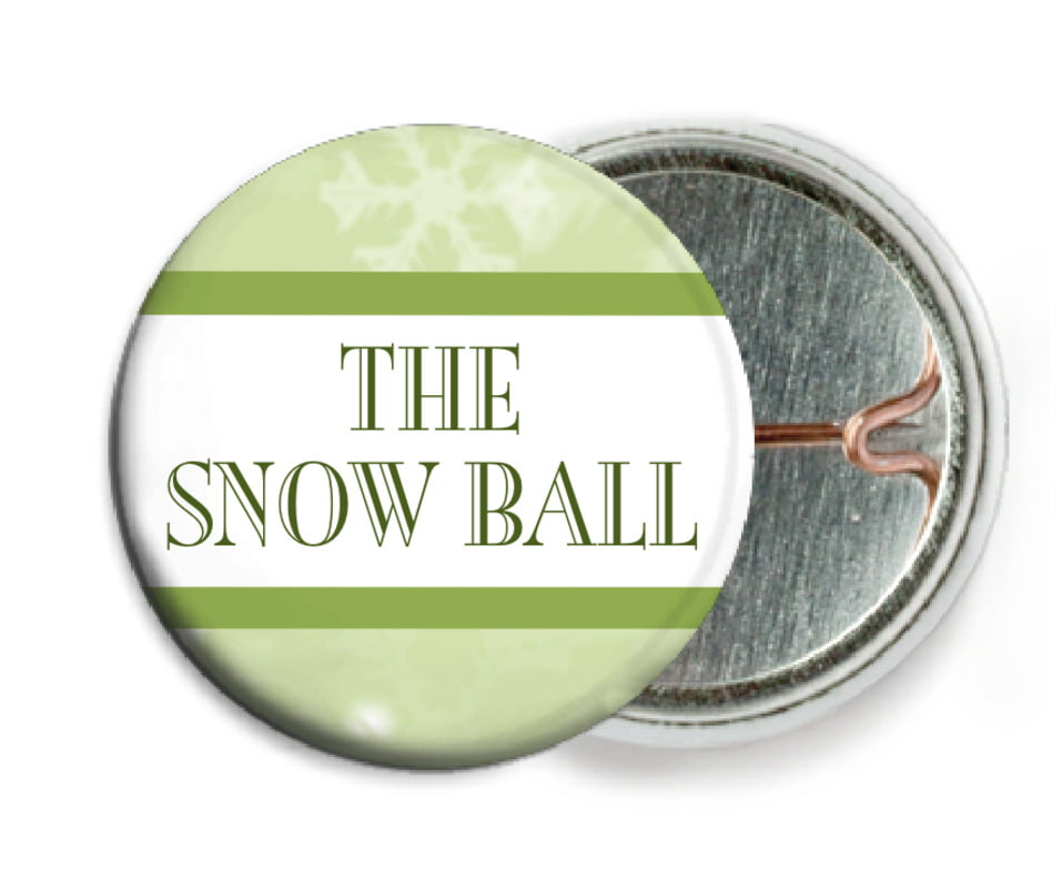 custom pin back buttons - green tea - snowflake (set of 6)