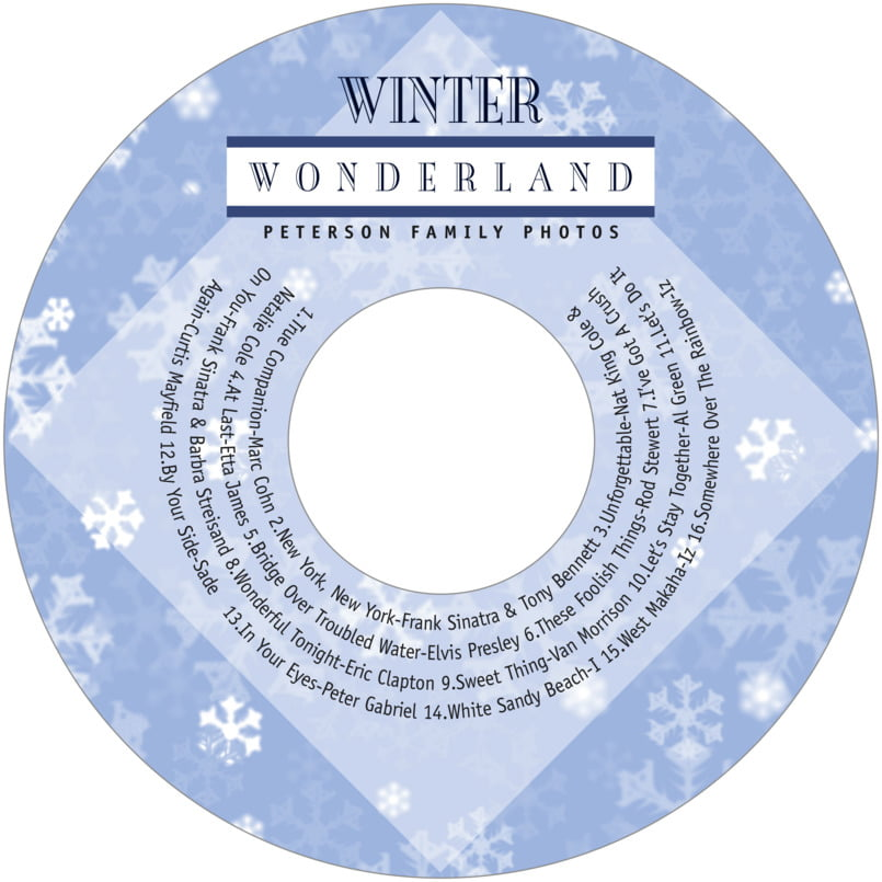 holiday cd/dvd labels - powder blue - snowflake (set of 12) CDSN18-15