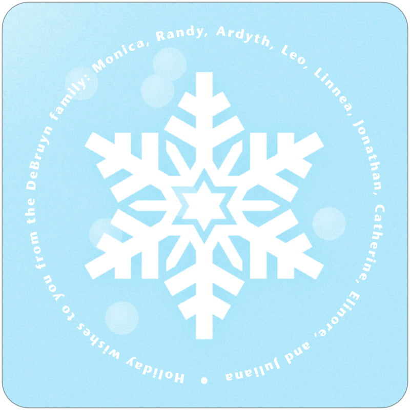 square holiday coasters - ice blue - snowflake (set of 12)