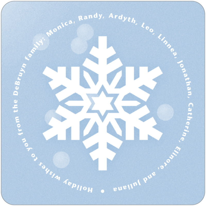 square holiday coasters - powder blue - snowflake (set of 12)