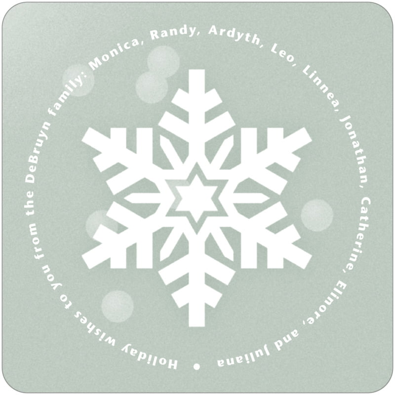 square holiday coasters - green - snowflake (set of 12)