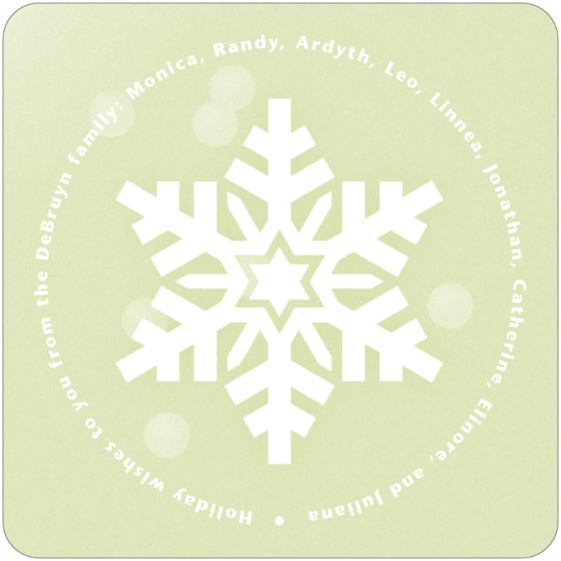 square holiday coasters - green tea - snowflake (set of 12)