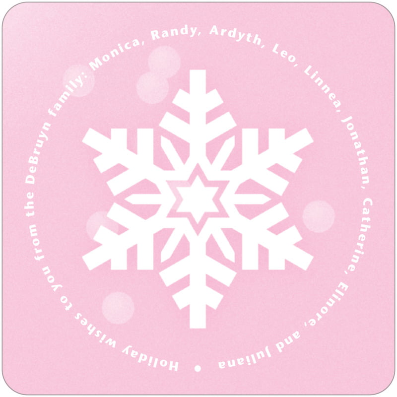 square holiday coasters - pale pink - snowflake (set of 12)