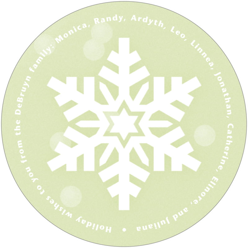 round holiday coasters - green tea - snowflake (set of 12)