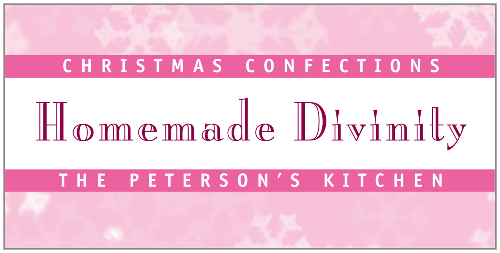 small rectangular food/craft labels - pale pink - snowflake (set of 24)