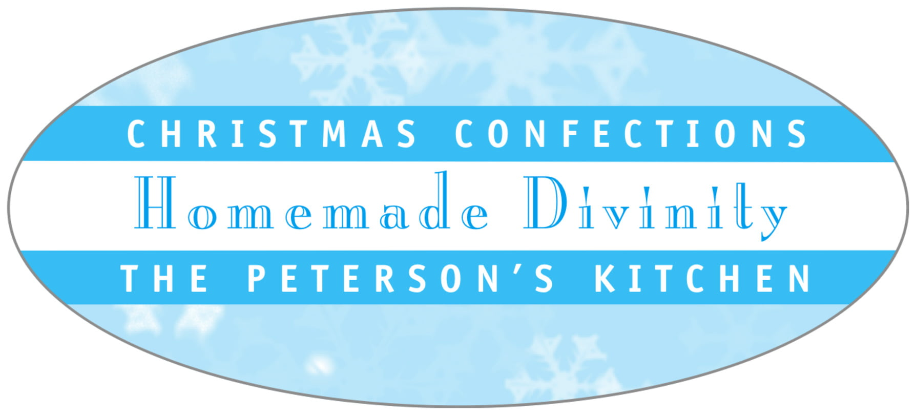 oval food/craft labels - ice blue - snowflake (set of 30)