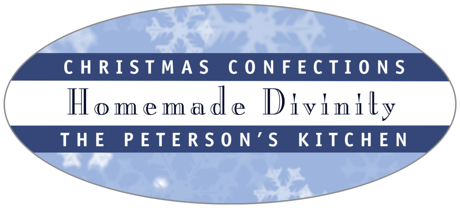 oval food/craft labels - powder blue - snowflake (set of 30)
