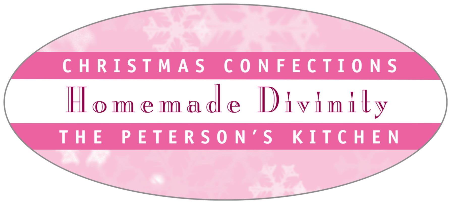 oval food/craft labels - pale pink - snowflake (set of 30)