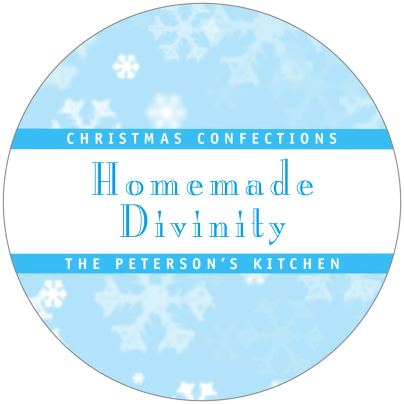 circle food/craft labels - ice blue - snowflake (set of 12)