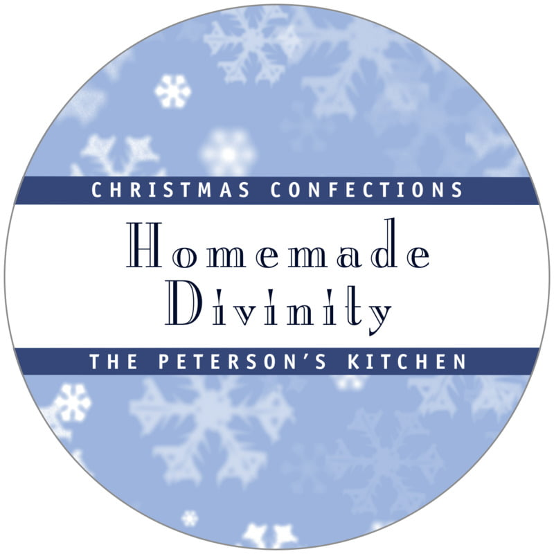 circle food/craft labels - powder blue - snowflake (set of 12)
