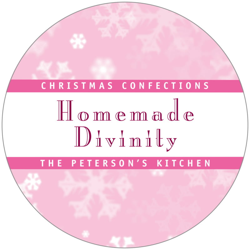 circle food/craft labels - pale pink - snowflake (set of 12)