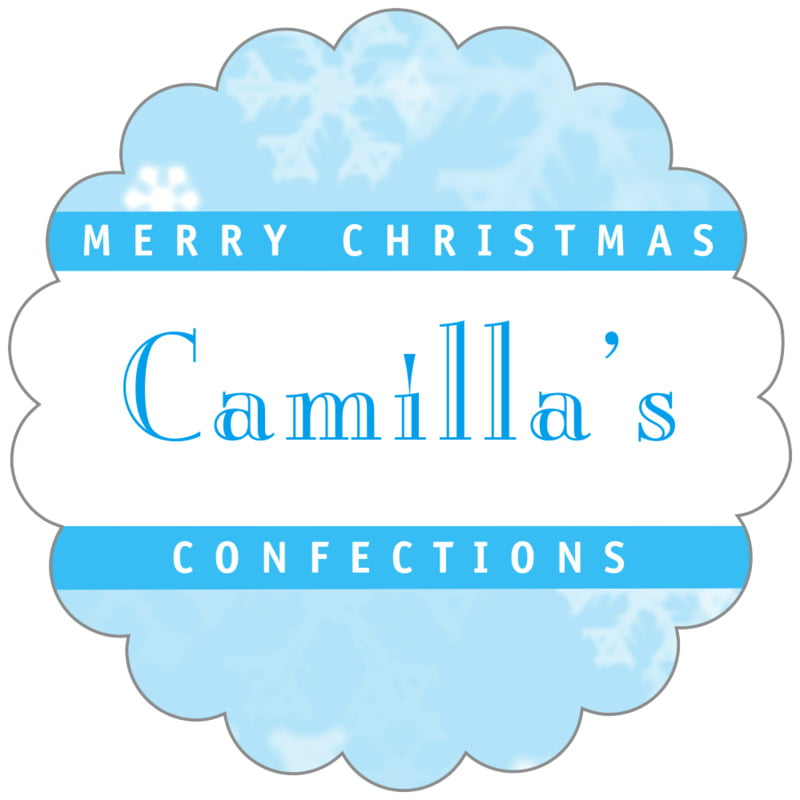 scallop food/craft labels - ice blue - snowflake (set of 20)
