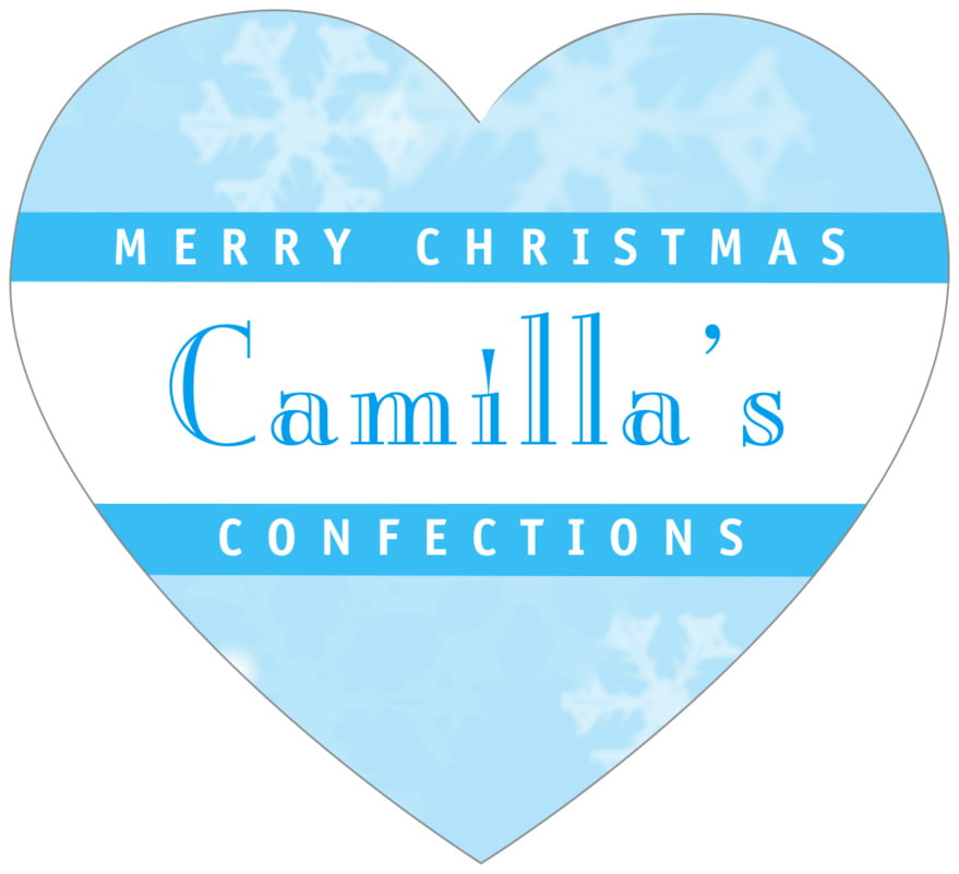 small heart food/craft labels - ice blue - snowflake (set of 20)