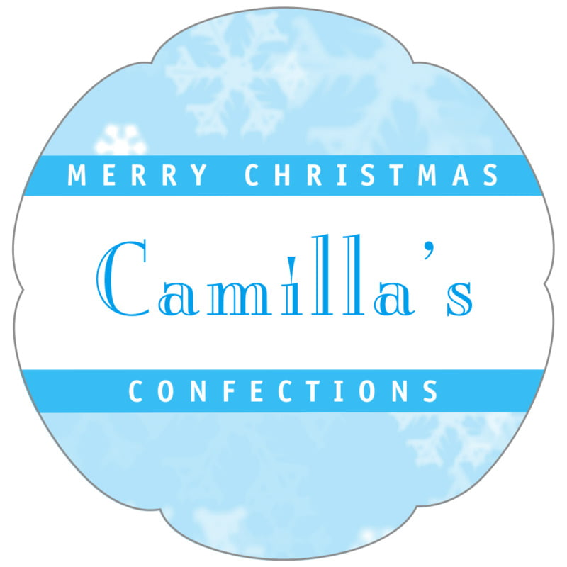 petal food/craft labels - ice blue - snowflake (set of 30)