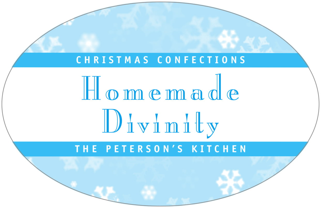 large wide oval food/craft labels - ice blue - snowflake (set of 8)