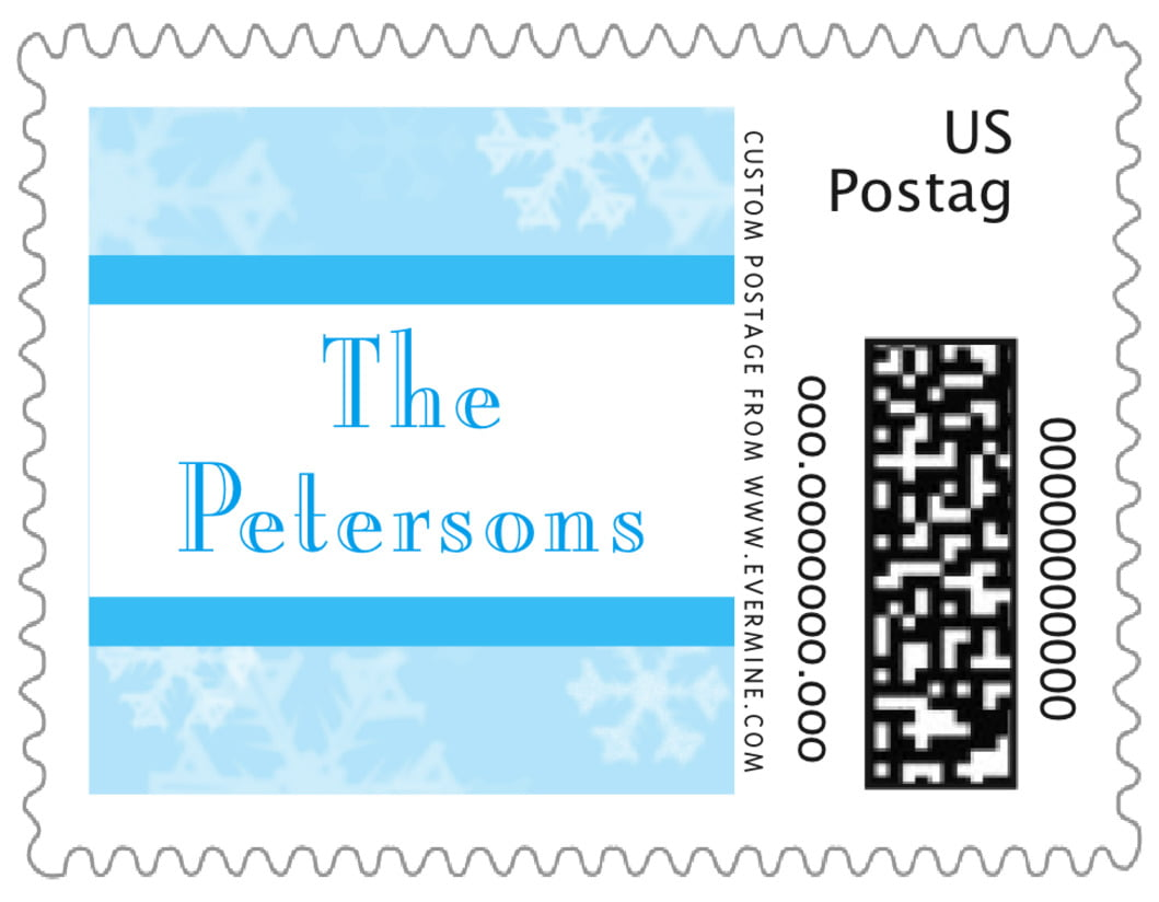 small custom postage stamps - ice blue - snowflake (set of 20)