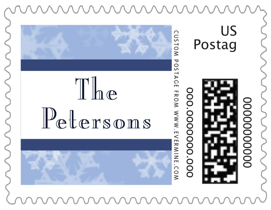 small custom postage stamps - powder blue - snowflake (set of 20)