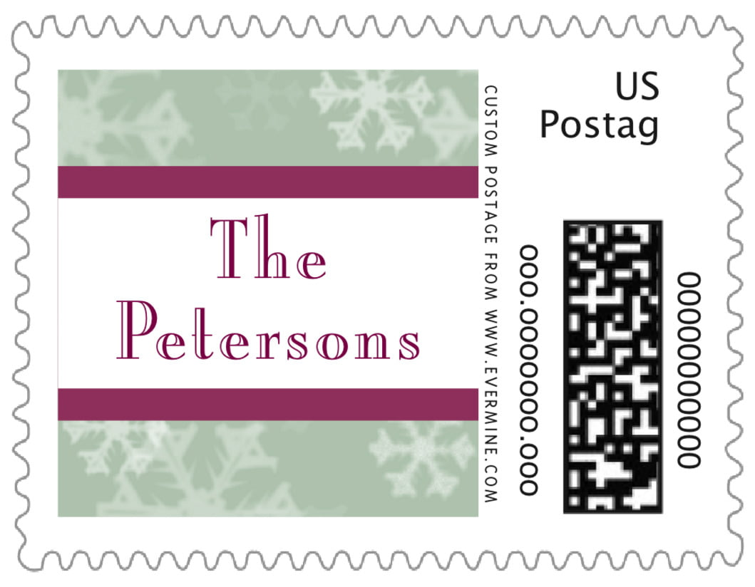 small custom postage stamps - green - snowflake (set of 20)