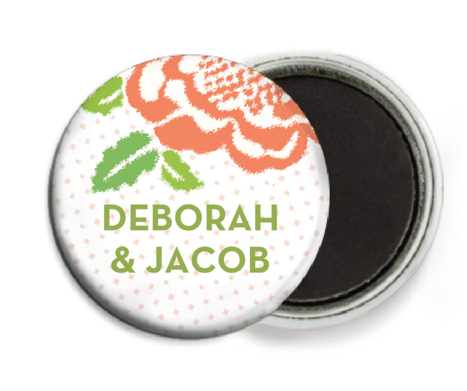 custom button magnets - peach - spring romance (set of 6)
