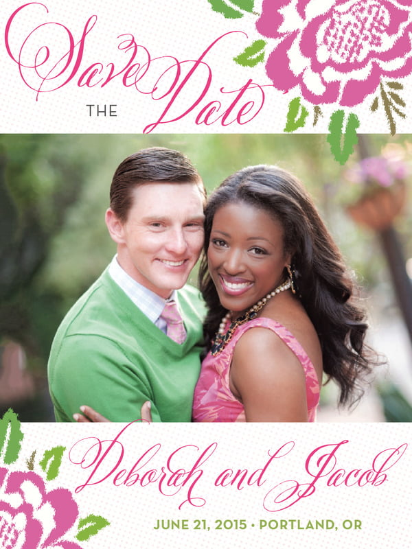 custom tall save the date cards - pink - spring romance (set of 10)