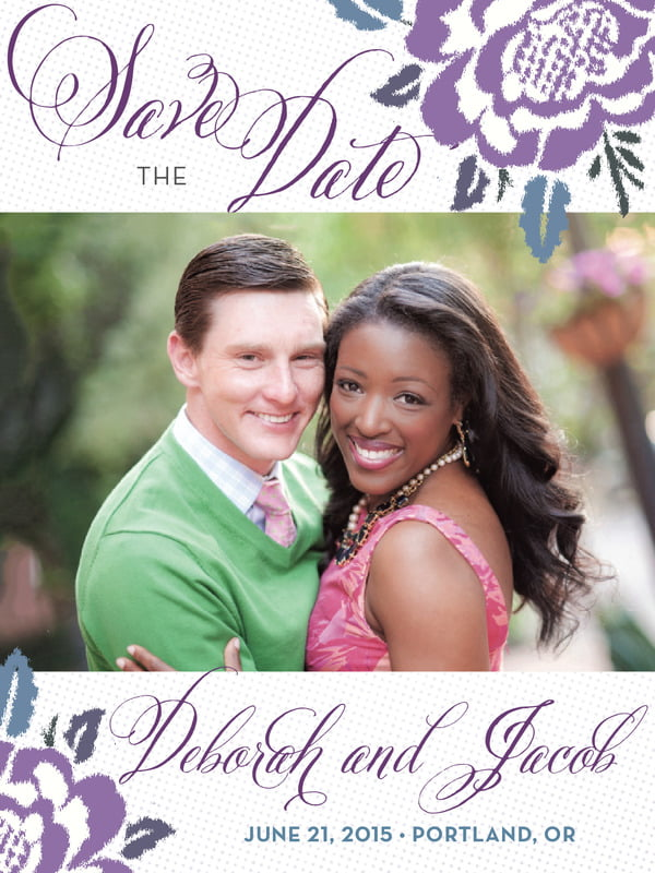 custom tall save the date cards - lilac - spring romance (set of 10)