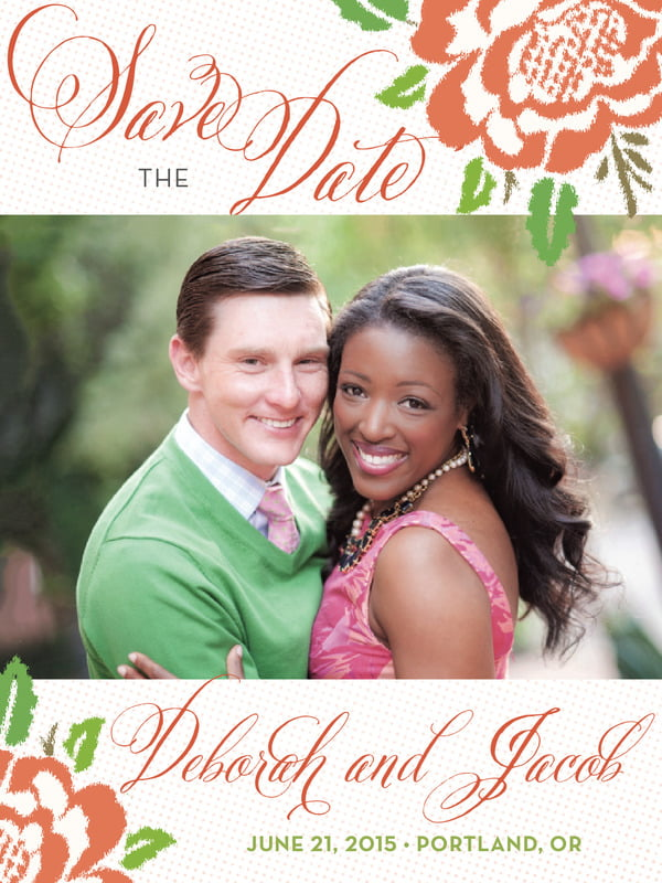 custom tall save the date cards - peach - spring romance (set of 10)