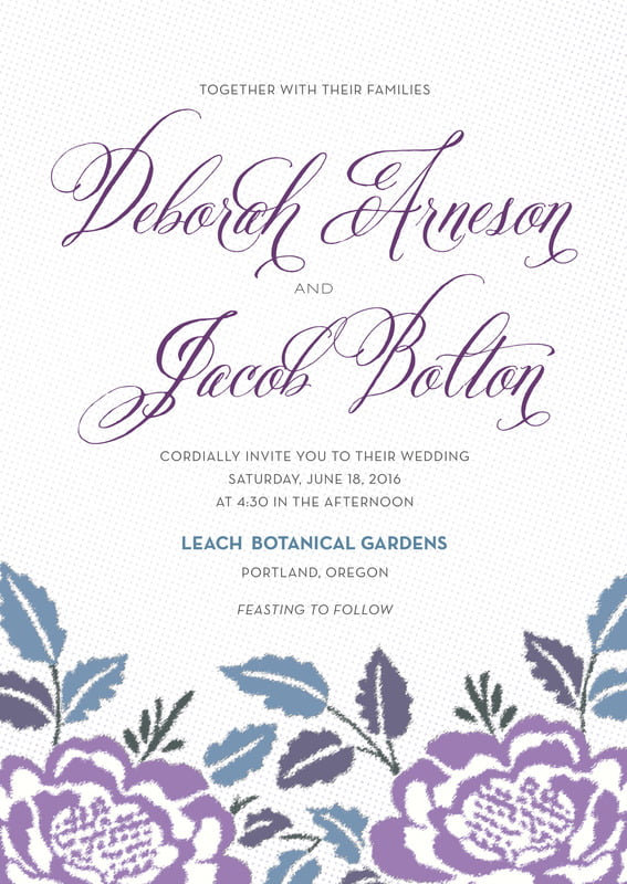 custom invitations - lilac - spring romance (set of 10)