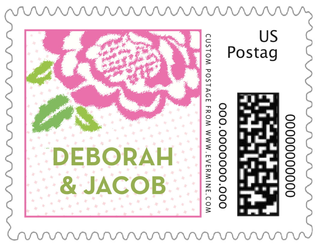 small custom postage stamps - pink - spring romance (set of 20)